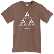 Sierpinski triangle, also called the Sierpinski gasket or the Sierpinski Sieve, is a fractal named after the Polish mathematician Wacław Sierpińsk.  For more cool math t-shirts, visit WEARMATH.COM