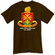 158th Artillery, MLRS - Dark Color T-Shirts: Front & Back Insignia, Available in 15 Dark Colors.
