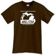 The Michigan Militia Minuteman T-Shirt in the color called Dark Chocolate.  Mmm, chocolate.