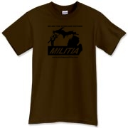 The black Michigan Militia Minuteman design on this Dark Chocolate T-Shirt is subdued - very subdued.