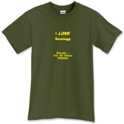 This sarcastic geology t-shirt says: I LOVE Geology. (Except ... For All Those ROCKS). Any geology student will dig it.