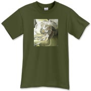 The gardenia center glows with an inner light. A shirt for the soft romantic!