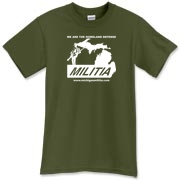 The Michigan Militia Minuteman T-Shirt in Military Green.