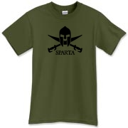 This Spartan swords and helmet t-shirt has the Jolly Roger of the Spartan age!  Available in military green for modern warriors with the Spartan fighting spirit within.