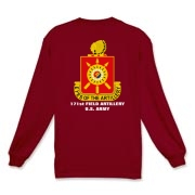 171st Field Artillery, MLRS - Dark Color, Long Sleeve T-Shirts. Front & Back Insignia. Available in 12 Dark Colors.