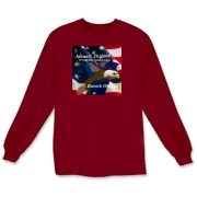 This long sleeve t-shirt features the image of an American Bald Eagle and flag - available in ash gray, sport gray or white.