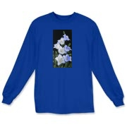 Blue and White Bellflowers sparkle on this lovely t-shirt! Feel pretty as a picture wearing it!