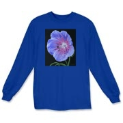 The wild geranium glows on this tee, delightful to wear!