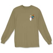 This whimsical flaming bowling ball long sleeve t-shirt has a pocket-sized emblem that shows a bowling pin in total terror as a flaming bowling ball chases it down.