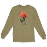 For the rose lovers, a long stemmed beauty in peach and salmon colors is the highlight of this tee.