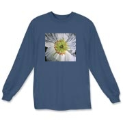 A white iceland poppy glows on this tee. The delicate petals of this flower are crinkled in a lovely pattern.