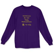 This humorous statistics long sleeve t-shirt says Statisticians Are Just Sloppy Mathematicians. It shows the statistical equation for PI as Pi = 3 +/- 0.2 as proof. The Pi symbol is used instead of the word Pi.