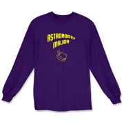 This humorous college major long sleeve t-shirt shows a thumb in a pointing gesture, indicating proudly that the wearer is an astronomy major.