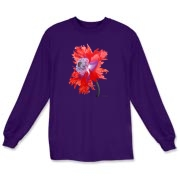 A flamboyant red and purple poppy makes a dramatic statement when you wear this t-shirt.