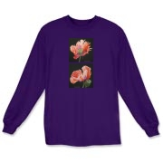 A pair of orange poppies with hints of purple bring double beauty to your t-shirt. Many compliments will be yours while wearing these flowers.
