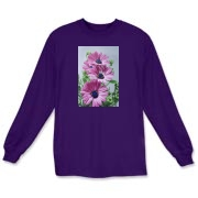 Softly glowing purple daisies create a feminine accent for this delightful t-shirt. You will smile every time you wear this shirt!