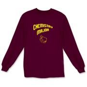 Proudly show off your college major with this whimsical chemistry long sleeve t-shirt, which uses a pointing thumb gesture to indicate that you are a chemistry major.