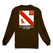 21st Artillery MLRS - Long Sleeve, Dark Color T-Shirts. Front & Back Insignia. Available in 12 Dark Colors.