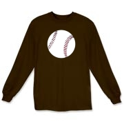 This Baseball Long Sleeve T-Shirt for adults is available in many colors and has a baseball on the front of the shirt.