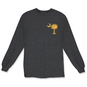 This pocket sized version of the smiley palmetto and crescent moon features the South Carolina palmetto with the popular smiley face printed on the pocket area of a t-shirt, sweatshirt or other apparel item.
