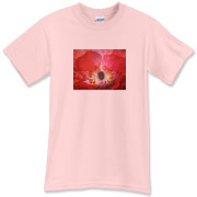 The center of a fabulous red poppy creates a glorious image for this shirt. Brighten up any day wearing it!