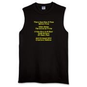 This whimsical Big Bang limerick sleeveless t-shirt gives in rhyme a quick recount of the evolution of the universe, from the Big Bang beginning to the creation of mankind.