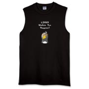 This comical Linux sleeveless t-shirt touts the popularity of the Linux operating system with an image of a computer nerd penguin saying Linux Makes You Happier!