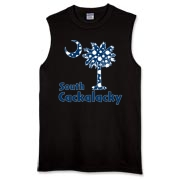 Blue Polka Dots South Cackalacky Palmetto Moon Sleeveless T-Shirt features a Polka Dot South Carolina palmetto moon logo in blue.