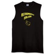 This amusing college major sleeveless t-shirt shows a thumb in a pointing gesture, indicating proudly that the wearer is an astronomy major.