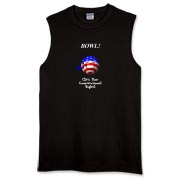 This nifty patriotic bowler t-shirt shows a smiling bowling ball caricature decked out in red, white and blue. The caption says: BOWL! (It's Your Constitutional Right).