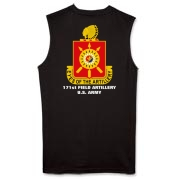 171st Field Artillery, MLRS - Dark Color Muscle T-Shirts. Front & Back Insignia. Available in 3 Dark Colors.