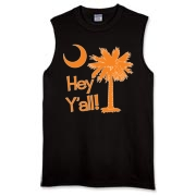 Say hello with the Orange Hey Y'all Palmetto Moon Sleeveless T-Shirt. It features the South Carolina palmetto moon.