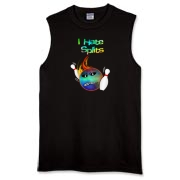 This sleeveless funny flaming bowling ball dark t-shirt has a flaming bowling ball smashing through bowling pins. The bowling ball has an angry grimace and bowling pins for eye pupils.