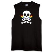 A skull and crossbones with eye sockets 'crying' rainbow flame tears. Simple skull art for Halloween or any time.