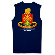 158th Artillery, MLRS - Dark Color Sleeveless T-Shirts: Front & Back Insignia, Available in 4 Dark Colors.