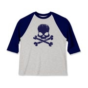 Blue Skull Kids Baseball Jersey