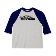 Sporty Kids Baseball Jersey features our popular Prestige Mustang Bold Logo design on the front