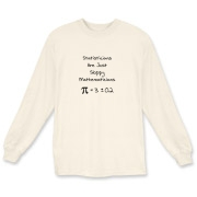 This humorous math long sleeve t-shirt says Statisticians Are Just Sloppy Mathematicians. It shows the statistical equation for PI as Pi = 3 +/- 0.2 as proof. The Pi symbol is used instead of the word Pi.