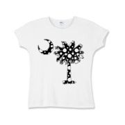 Black Polka Dot Palmetto Moon Girls Baby Rib T-Shirt features a black palmetto moon with white polka dots. Buy this fun variation on the South Carolina palmetto moon flag today!