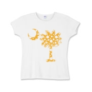 Yellow Polka Dot Palmetto Moon Girls Baby Rib T-Shirt features a yellow palmetto moon with white polka dots. Buy this fun variation on the South Carolina palmetto moon flag today!