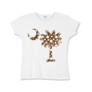Chocolate Brown Polka Dot Palmetto Moon Girls Baby Rib T-Shirt features a chocolate brown palmetto moon with white polka dots. Buy this fun variation on the South Carolina palmetto moon flag today!