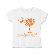 Carolina Girls and polka dots, a great combination! Get your Orange Polka Dot Carolina Girl Girls Baby Rib T-Shirt with an orange South Carolina palmetto moon.