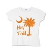 Say hello with the Orange Hey Y'all Palmetto Moon Girls Baby Rib T-Shirt. It features the South Carolina palmetto moon.