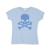 Blue Skull Girls Baby Rib T-Shirt
