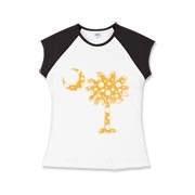 Yellow Polka Dot Palmetto Moon Girls Cap Sleeve T-Shirt features a yellow palmetto moon with white polka dots. Buy this fun variation on the South Carolina palmetto moon flag today!