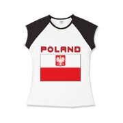 A beautiful image of the red and white Polish State flag or the Polish Falcon Flag. This design includes the white eagle on a red shield, the coat of arms of Poland and the word Poland above the flag.