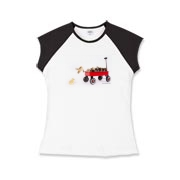 Chick jumping from wagon Girls Cap Sleeve T-Shirt