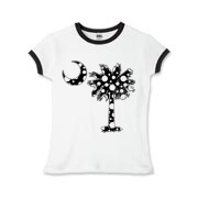 Black Polka Dot Palmetto Moon Girls Ringer T-Shirt features a black palmetto moon with white polka dots. Buy this fun variation on the South Carolina palmetto moon flag today!