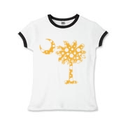 Yellow Polka Dot Palmetto Moon Girls Ringer T-Shirt features a yellow palmetto moon with white polka dots. Buy this fun variation on the South Carolina palmetto moon flag today!