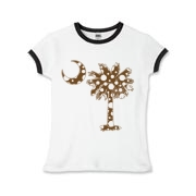 Chocolate Brown Polka Dot Palmetto Moon Girls Ringer T-Shirt features a chocolate brown palmetto moon with white polka dots. Buy this fun variation on the South Carolina palmetto moon flag today!